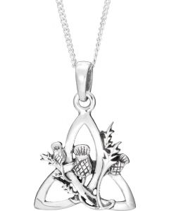 Sterling Silver Trinity Knot Necklace with  Scottish Thistle overlay