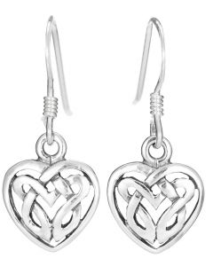 Celtic Heart drop earrings in 925 Silver