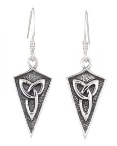 Sterling Silver Celtic Triangular Trinity Knot Earrings