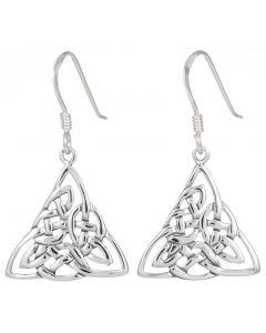 Sterling Silver Celtic Triangular  drop earrings