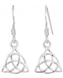 Sterling Silver Triquetra circle interlaced Celtic drop earrings