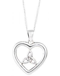 Celtic Trinity Heart  Necklace Sterling Silver
