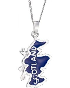 Sterling Silver Enamel map of Scotland Necklace.