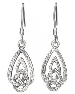 Sterling Silver Distressed Celtic Knotwork Earrings