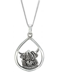 Sterling Silver Highland Cow  Necklace