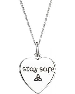 Stay safe Celtic Heart necklace 925 Sterling Silver