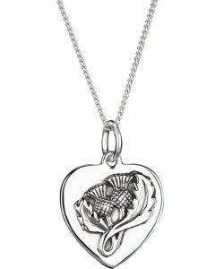 Sterling Silver Scottish Thistle  Heart Necklace