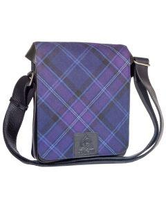 Scottish Thistle Tartan, Leather  Cross Body Bag