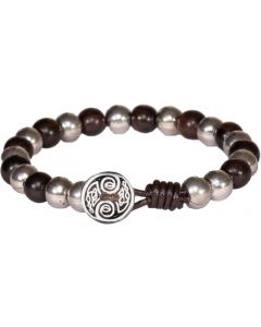 Leather Ebony Beaded Celtic  Bracelet