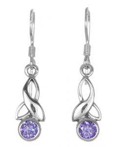 February Birthstone Earrings crafted  from Sterling Silver Celtic design