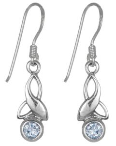 Sterling Silver Celtic Drop Leaf June Birthstone Earrings