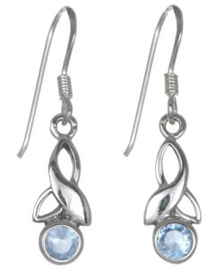 Sterling Silver Celtic Drop Leaf March Birthstone Earrings