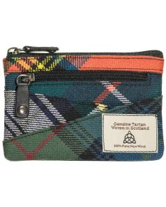 Quirky Scottish Tartan change/ credit card /key chain Purse with RFID