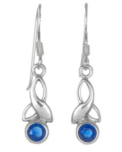 Sterling Silver Celtic Drop Leaf September Birthstone Earrings